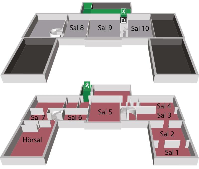 ritning över museets olika våningsplan