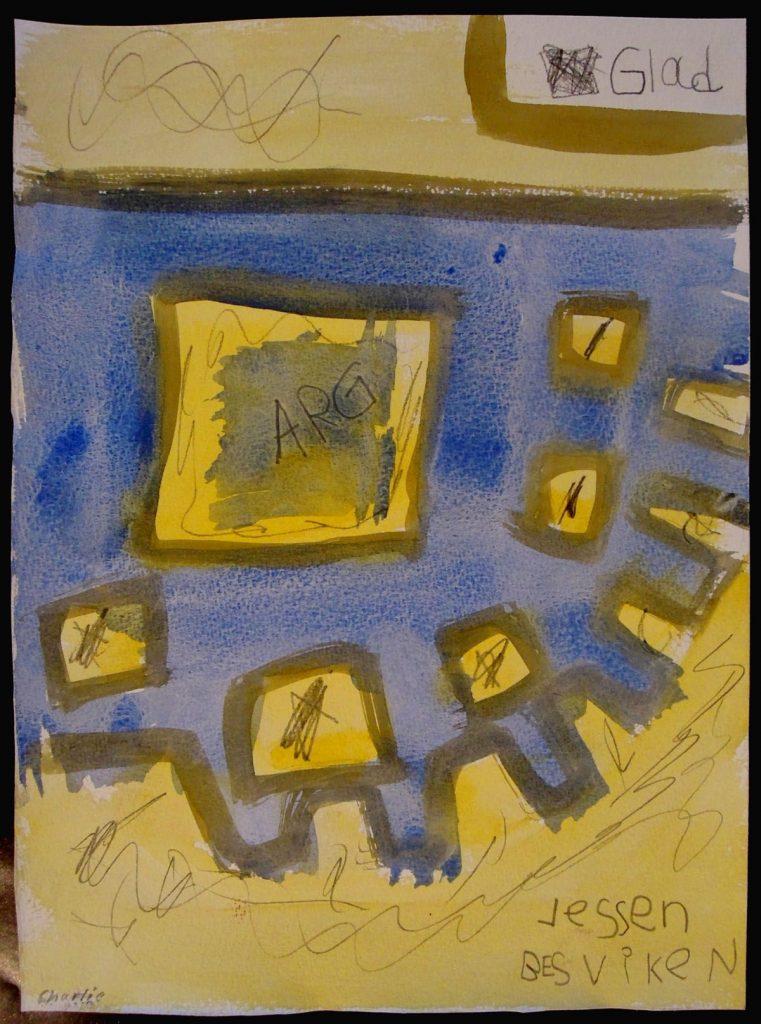 Målning i gult och blått ur utställningen Extra Allt