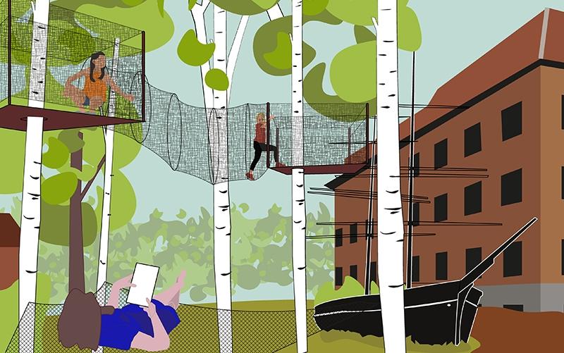 illustrationsskiss av visionen om en lekpark, klättring i björkar