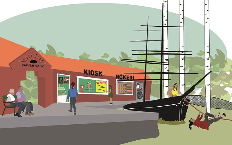 illustrationsskiss av visionen om en lekpark med gävle varv och en båt