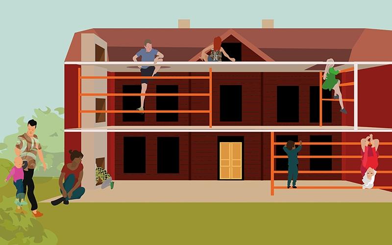 illustrationsskiss över visionen om en lekpark med barn som klättrar i en hälsingegård