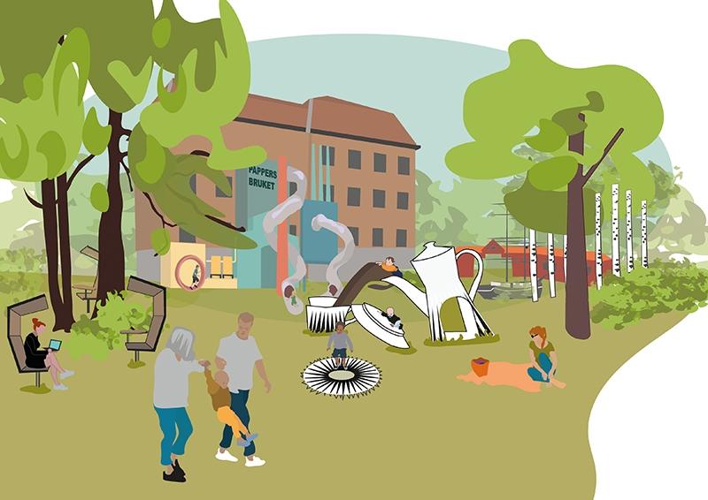 illustrationsskiss över vision om en lekpark kaffekanna som rutchkana