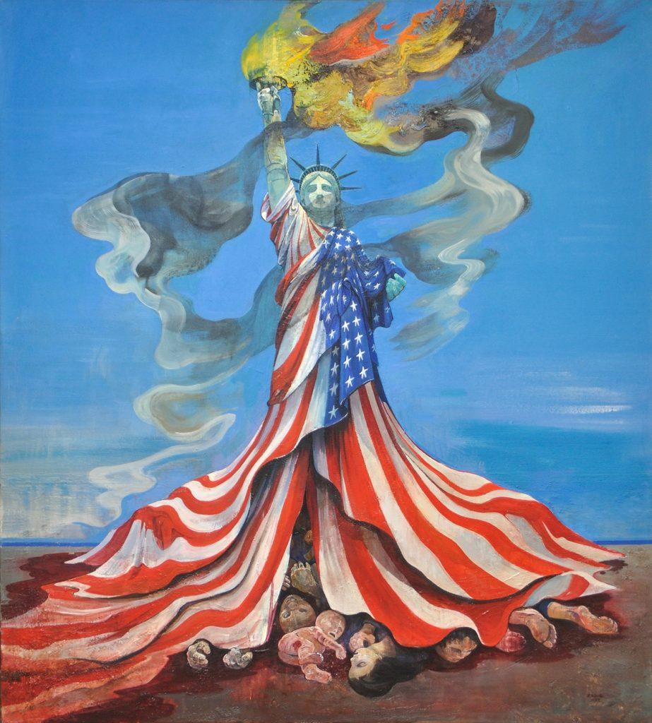 målning föreställandes frihetsgudinnan draperad i amerikanska flaggan