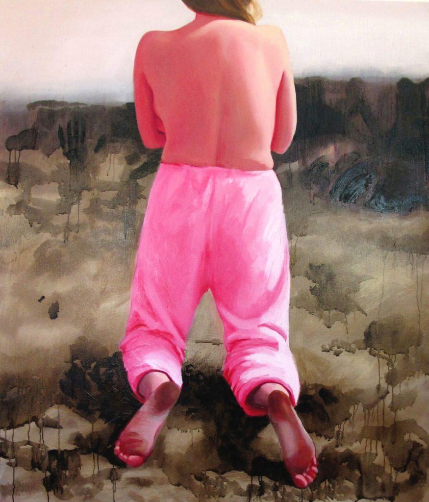 En målad tavla föreställandes en kvinna i rosa byxor som står på knä