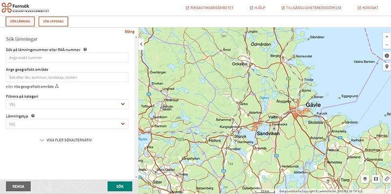 Skärmklipp av kartfunktionen i Fornsök