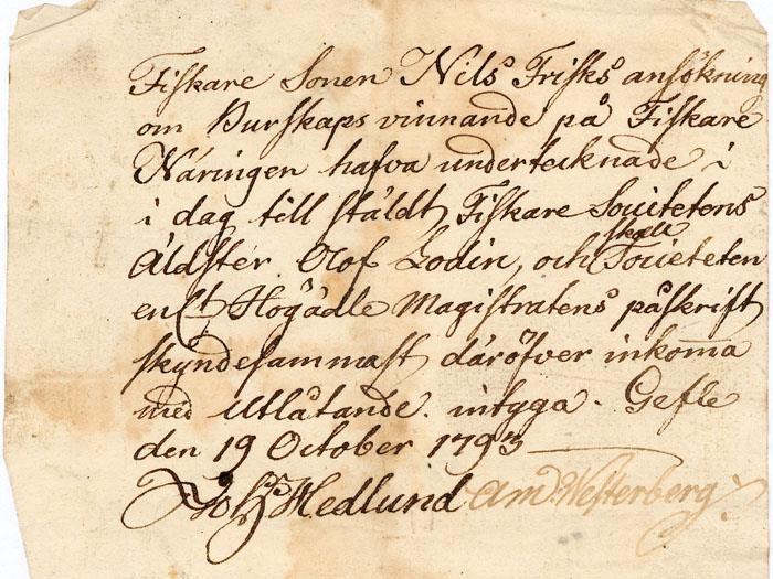 Äldre gulnat dokument med snirklig handstil