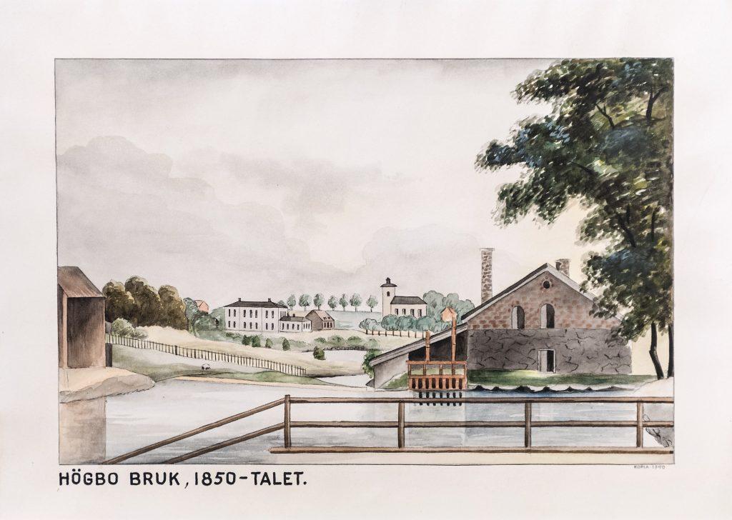 målning av högbo bruk på 1850-talet med vatten kyrka och bruksbyggnad i tegel