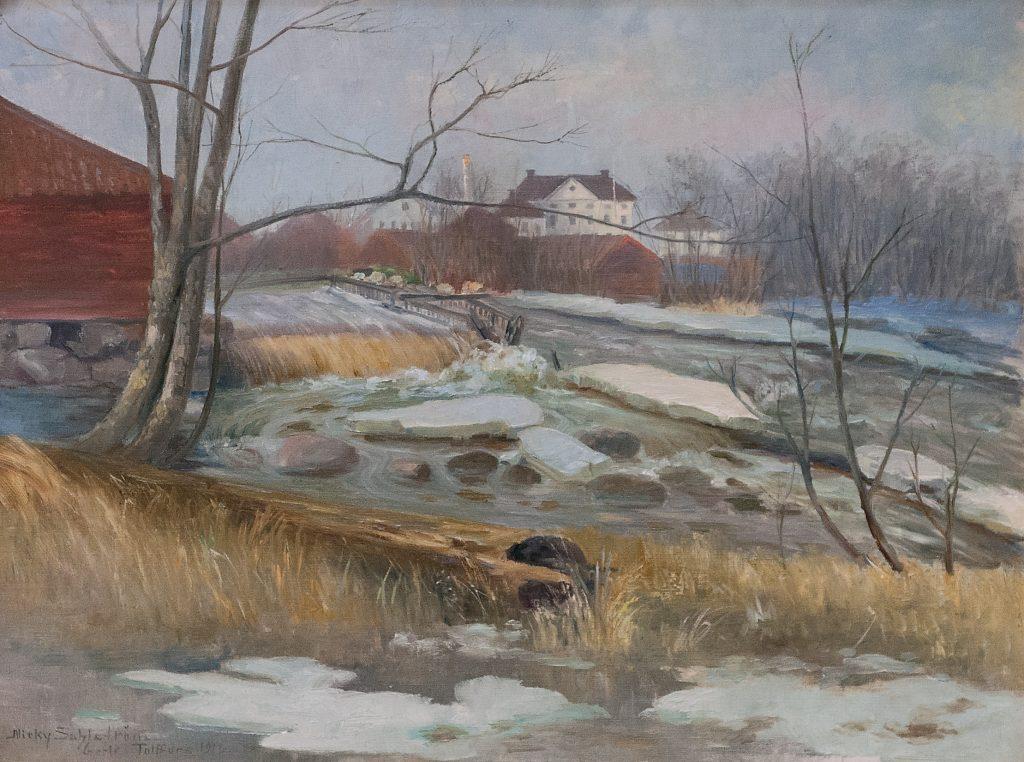 målning av tolvfors bruk, vit byggnad i bakgrunden vid en fors med snö och isflak