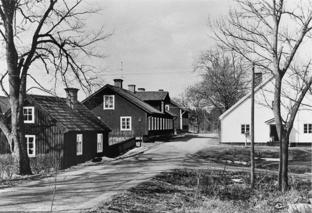 Svartvit bild med bygata. Hus på båda sidor av vägen. Träd i förgrunden.