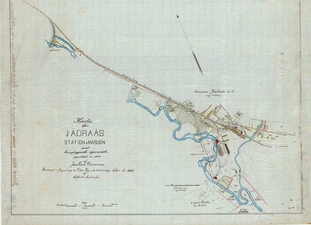 Äldre karta över Jädraås station och masugn