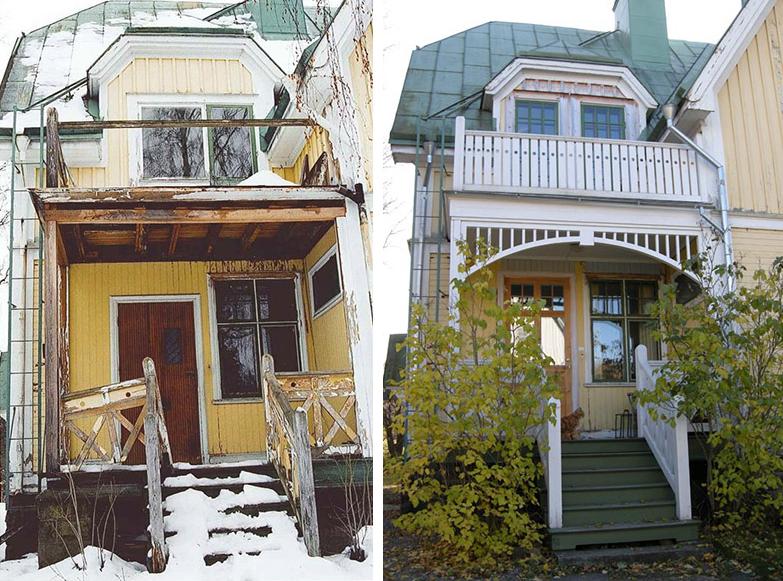 Bildkollage före och efter, gul byggnad med kombinerad farstukvist med balkong