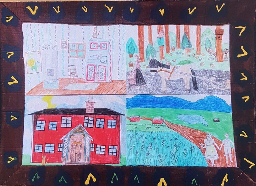 Barnteckning med svart ram. Ett rött hus, skog, en väg.