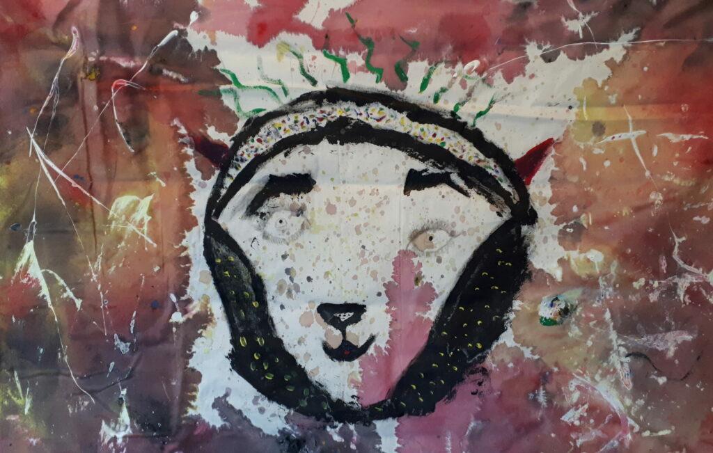 Målning av ett djur