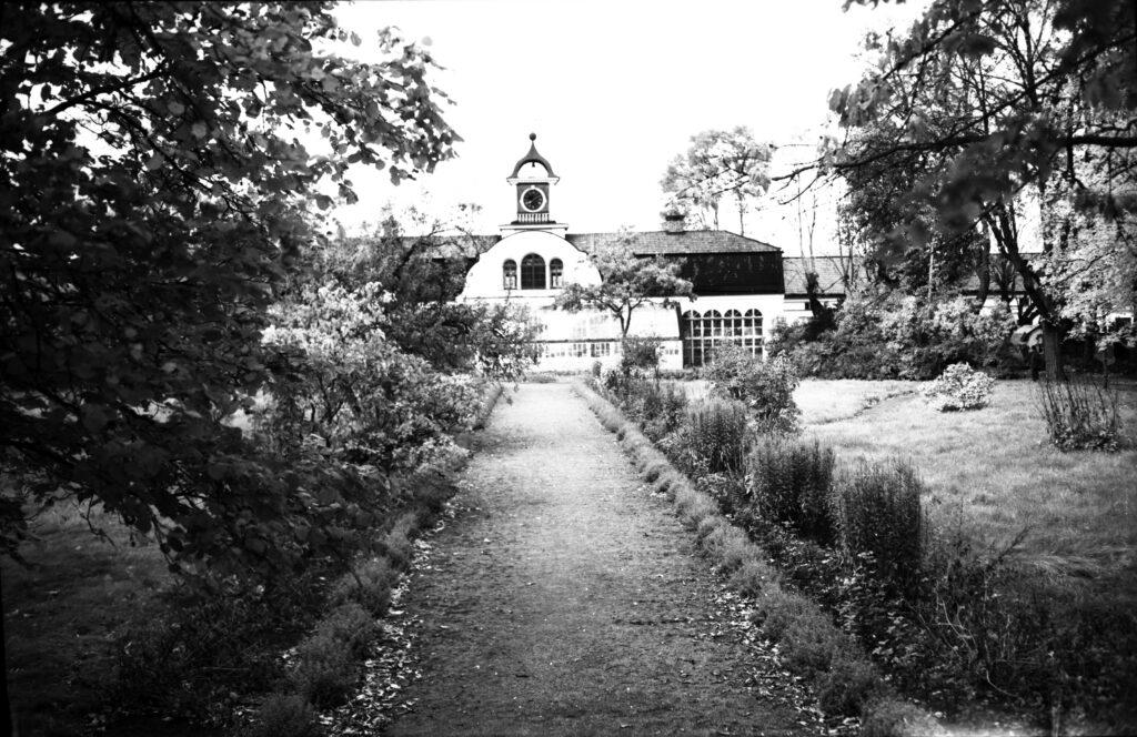 Svartvit foto av trädgård och orangeri.