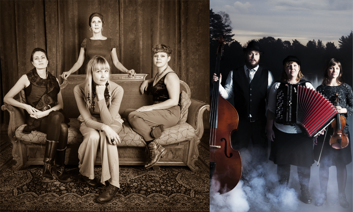 Två ihopsatta foton där de båda bandens medlemmar syns. Instrument är med i motiven.